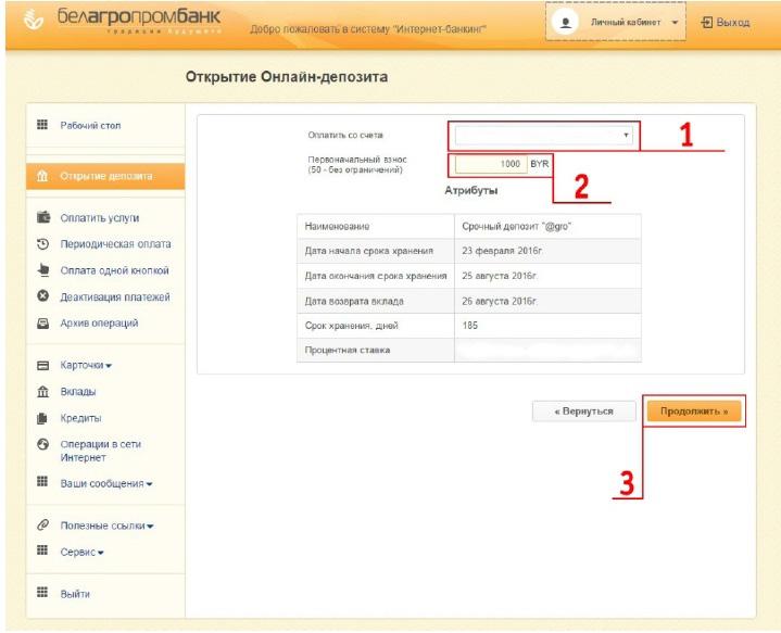 5 шагов по открытию интернет-депозита gro в ОАО Белагропромбанк 14